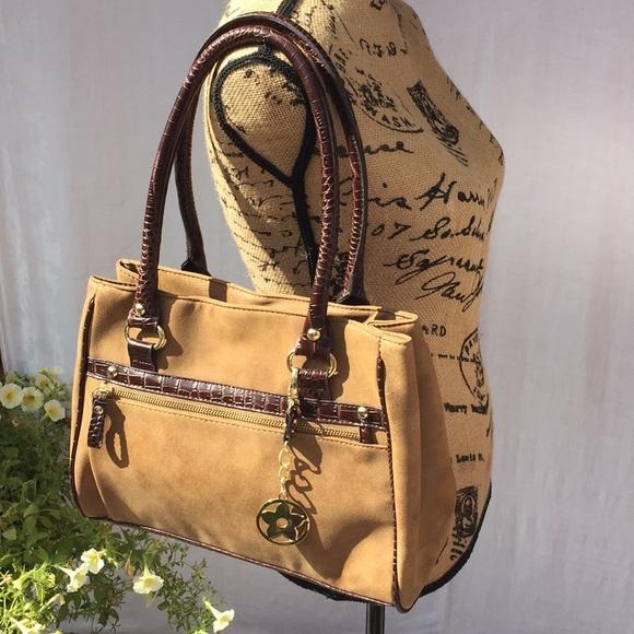 GAL Handbags - GAL tan vegan leather w brown trim